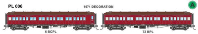 Victorian Railways: PL Series Passenger Carriages:  PL006 6 BCPL / 72 BPL 1971