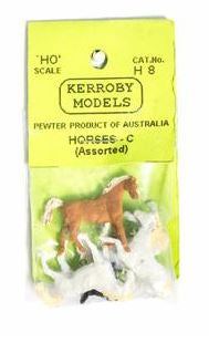 Kerroby Models: H08 HORSES  C . WHITE ASSORTED POSES (5)painted