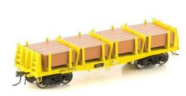 Auscision: FISHBELLY UNDERFRAME WAGON, WSC SLEEPER WAGON, YELLOW WITH SLEEPER LOAD - 4 CAR PACK NMW-2