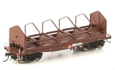 Auscision Models: FISHBELLY UNDERFRAME WAGON, NCNX COIL STEEL WAGON, SRA RED WITH TARP HOOPS - Single PACK NSW-25