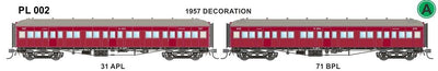 PL002 Victorian Railways: PL Series Passenger Carriages:   31 APL / 71 BPL 1957
