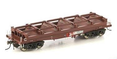 Auscision Models: FISHBELLY UNDERFRAME WAGON, NCNX COIL STEEL WAGON, SRA RED WITHOUT TARP HOOPS - 4 CAR PACK NSW-24