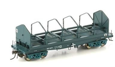 Auscision Models: NSW-23 FISHBELLY UNDERFRAME WAGON, NCX COIL STEEL WAGON, PTC BLUE WITH TARP HOOPS - SINGLE PACK #NSW-23