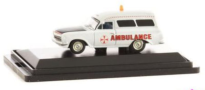 Road Ragers: 1963 EH Panel Van Ambulance White, HO Car. die-cast