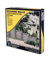 Woodland Scenics: RETAINING WALL RANDOM STONE - HO SCALE (3PC)