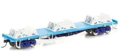 NSW-21 Auscision Models: NCQX COIL STEEL WAGON WITH 3 X CRADLES, FREIGHT RAIL BLUE, 4 CAR PACK #NSW-21