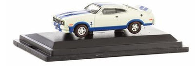 Road Ragers: 1978 XC Cobra: Sno White / Blaze Blue Stripes, HO Car. die-cast