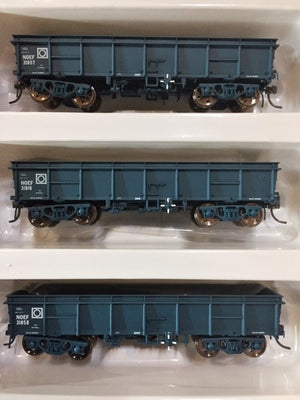Eureka Models: NOEF BOGIE OPEN WAGON NSWR PTC WAGON BLUE 3 in pack #PACK D.