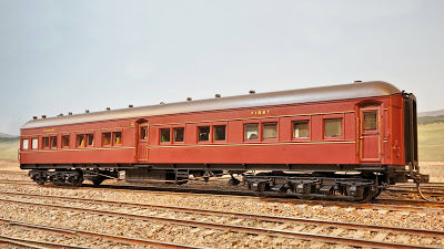 17. MCS 599 INDIAN RED  Eureka Models :  SITTING CAR with WEATHER GREY ROOF NSWGR 12 Wheel Passenger 72.6 Car Series .