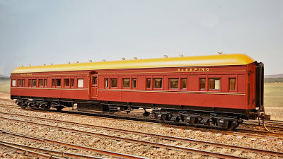 13. TAM 1828  INDIAN RED Eureka Models :  SLEEPING CAR with NAVY DRESSING ROOF NSWGR 12 Wheel Passenger 72.6 Car Series .