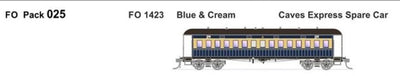 FO 025 AUSTRAINS NEO : End Platform Car FO 1423 BLUE & CREAM CAVES EXPRESS SPEAR CAR Single Car (new Re-Run)