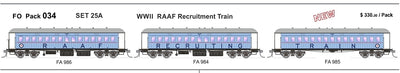 FO 034 AUSTRAINS NEO : End Platform Car - Set 25A -  WW11 RAAF Recruitment Train 3 cars (new Re-Run)