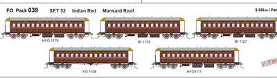 FO 039 AUSTRAINS NEO : End Platform Car - Set52 - Indian Red  with Mansard Roof 5 cars (NEW)