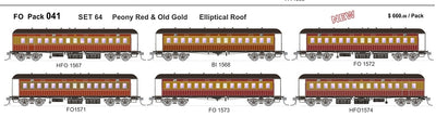 FO 041 AUSTRAINS NEO : End Platform Car - Set64 - Peony Red & Old Gold with Elliptical Roof 6 cars (NEW)