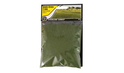 Woodland Scenics: FS613 STATIC GRASS -2MM DARK  GREEN