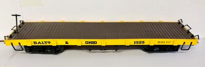 G Scale Flat Wagon BALTO-OHIO Yellow with Brown Deck Kadee type couplers, BACHMANN #G1.