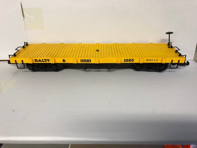 G Scale Flat Wagon BALTO-OHIO Yellow with YELLOW Deck LGB type couplers, BACHMANN #G2.