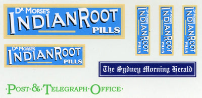 GVB 007 Dr. Morse's Indian Root Pills (Blue/Yellow) Gwydir Ozzy Decals: - 3 sizes also Post and Telegraph Office in green and Sydney Morning Herald.  Heritage Billboard Decals