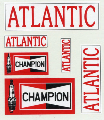 GVB 009 Atlantic Oil Gwydir Ozzy Decals: Atlantic Oil/Champion spark Plugs  - Atlantic in 3 sizes and Champion Spark Plugs in 2 sizes.  Heritage Billboard Decals