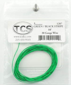 TCS #1207 : 10ft 32awg - Green/Black Stripe Wire