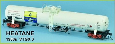 GAS SDS Models: NSWR: HEATANE 1980s VTGX 3 LPG Rail Gas Tank Car: Single Pack. #018