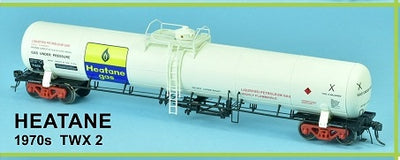 GAS SDS Models: NSWR: HEATANE 1970s TWX 2 LPG Rail Gas Tank Car: Single Pack. #017