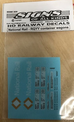 SK 209 -  HO Decal - National Rail - RQYY Container Wagons