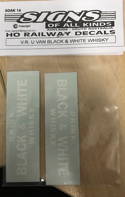 SK16 U Van Decal-U Van  V.R U Van Black & White Whisky Decal - HO Decal.