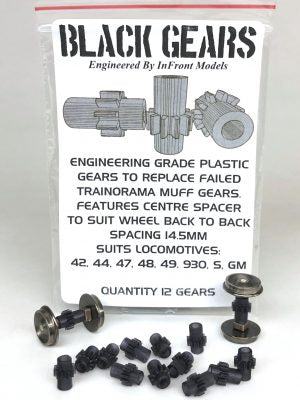 GEARS INFRONT MODELS SUITS TRAINORAMA 42, 44, 47, 48, 49, 930, VR S, GM. Qty, 12 GEARS.