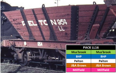 LL16 Southern Rail: MIXED PACK |10 WAGON SET SRM & HUNTER VALLEY PRIVATE OWNER 4 WHEEL 'LL' STEEL FRAME COAL HOPPERS HO.