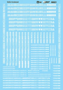 MICROSCALE 90021  Alphabets - Condensed Gothic - White - (formerly 87-93-1) Waterslide Decal HO scale
