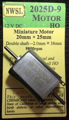 NWSL: 25 mm long x 20 mm wide x with 2 mm shaft NWSL MOTOR 12 VOLTS DOUBLE SHAFT #2025D-9 *