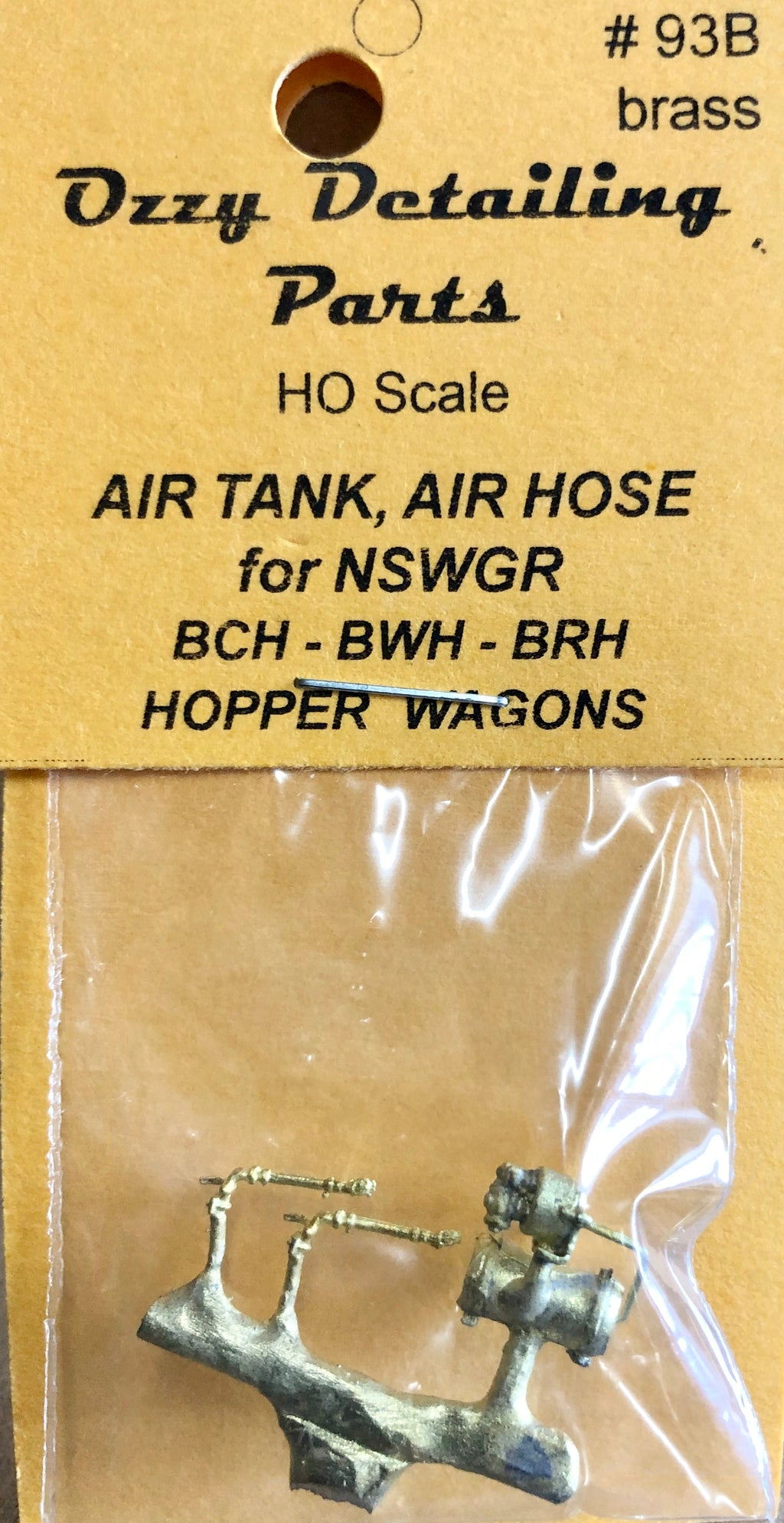 BCH 93B - AIR TANK & AIR HOSES for BCH & goods wagon NSWGR - Ozzy Brass #93B