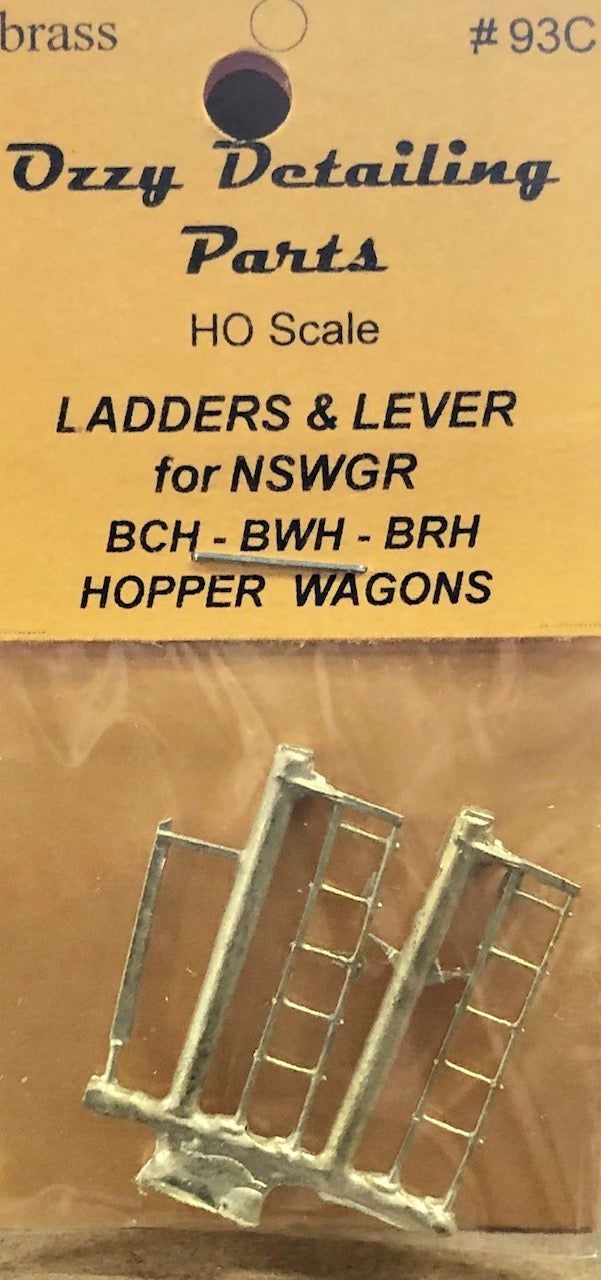 93C Ozzy Brass LADDER & LEVER for BCH & goods wagon NSWGR #93C