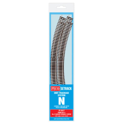Peco N: ST-3017 - PACK OF 4 NO 3 RADIUS DOUBLE CURVES