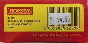 Hornby: new R4735, SR MAUNSELL CORRIDOR 3RD CLASS COACH '1216' NEW MODEL. DISCOUNT PRICE.