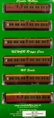 "Casula Hobbies: NSWGR Passenger set, ""R Type"" 6 Car, Set 109, Tuscan & Russet ""Sth COAST DAYLIGHT EXPRESS"" low stock available"
