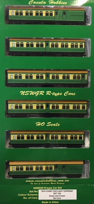 "Casula Hobbies: NSWGR ""R Type"" 6 Car, Set 109, GREEN & CREAM ""Sth COAST DAYLIGHT EXPRESS"" (ONE OR TWO SET LEFT)."