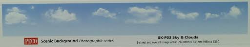 Peco : SKP-03 Photographic Sky & Clouds Backscene 800 mm x 320 mm 3 sheet in a pack.