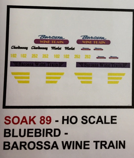SK 89 DECAL for the BAROSSA WINE TRAIN SOUTH AUSTRALIA Railways