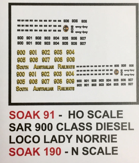 SK 091 DECAL for 900 CLASS LOCO, LADY NORRIE HO
