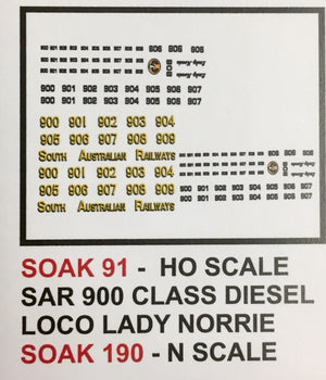 SK 91 DECAL for 900 CLASS LOCO, LADY NORRIE HO