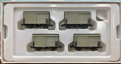 QR RAILWAY ALY pk1.  12mm ALY 4 WHEEL STEEL LOUVERED VAN 1964-67 AS BUILT 4 CAR Pack QLD RAILWAYS