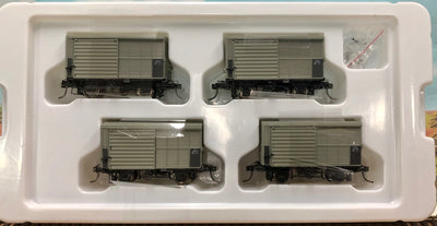 QR RAILWAY ALY pk2.  ALY 4 WHEEL STEEL LOUVERED VAN 1964-67 AS BUILT, 4 CAR Pack, 12mm QLD Railways.