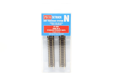 Peco N: ST-3001 - PACK OF 8 STANDARD STRAIGHT UNITS (87MM LENGTH) CODE 80