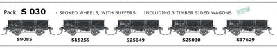 S Wagon SDS Models: -Pk S 030 NSWGR S WAGON SPOKED WHEELS, WITH BUFFERS, TIMBER SIDED 5 PACK.