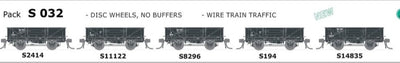 S Wagon SDS Models: -Pk S 032 with  DISC WHEELS, NO BUFFERS, WIRE TRAIN TRAFFIC 5 PACK.