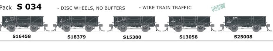 AUSTRAINS NEO - S WAGON: -Pk S 034 DISC WHEELS, NO BUFFERS, WIRE TRAIN TRAFFIC 5 PACK.
