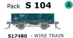 S Wagon SDS Models -Pk S 104 ( S17480 ) WAGON  with DISC WHEELS, NO BUFFERS,  WIRE TRAIN TRAFFIC Single PACK.