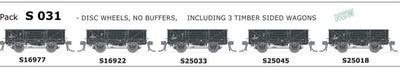 AUSTRAINS NEO - S Wagon: -Pk S 031 with  DISC WHEELS, NO BUFFERS, TIMBER SIDED 5 PACK.